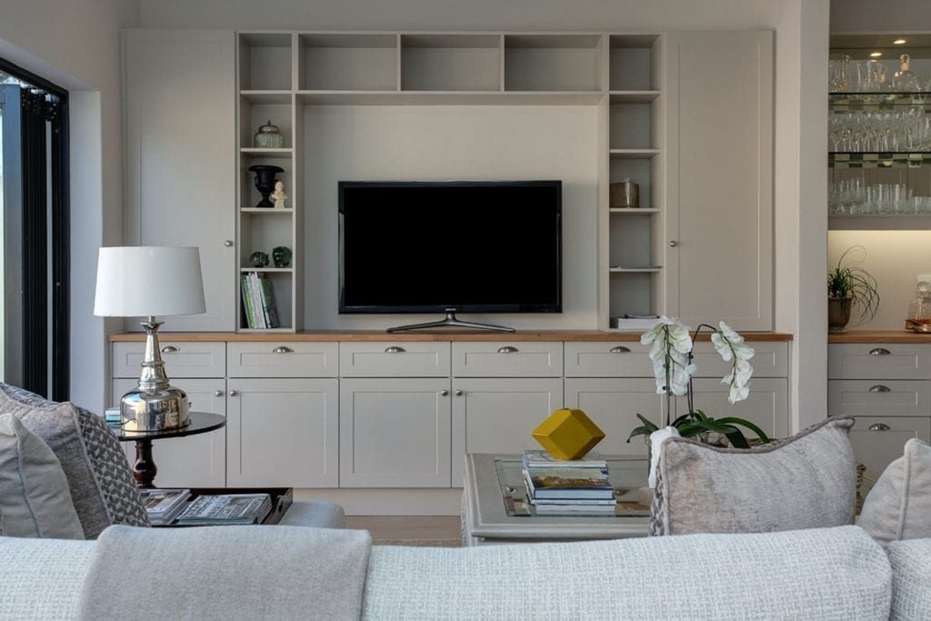Home interior living room with television